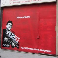 Artist? (cocabeenslinky) Tags: streetart london art canon graffiti photo stencil artist ray grafitti power shot photos blu graf ad powershot shoreditch advert graff hs ec1 scarface eastend eastlondon artiste ec2 2011 sx220 cocabeenslinky ©cocabeenslinky