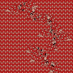 A digital drawing of graphic tan phalluses over a red background. Figures of crouched human beings with their hands bound are woven in down the the middle.