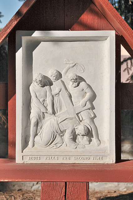 Little Sisters of the Poor, in Saint Louis, Missouri, USA - Station of the Cross - Jesus falls a second time