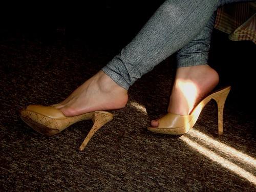 My wife barefoot railway walking - 1 1