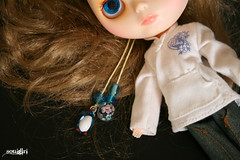 Leah showing off her glass pull charms :)