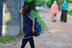 Catch the dream. (A. adnan) Tags: nikon catchthedream school educationforgirls education light girl walking bag juxtaposition comparison gettyimagesbangladeshq3 chittagong hometown bangladesh