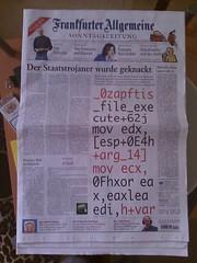 Bundestrojaner alias 0zapftis auf der Titelseite der Frankfurter Allgemeinen Sonntagszeitung