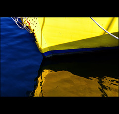 blue/yellow (klaus53) Tags: blue sea yellow reflections boat nikon croatia rovinj istria istrien blinkagain