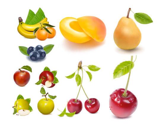 Fruta (platano, naranja, cerezas, peras y melocoton) en Vector
