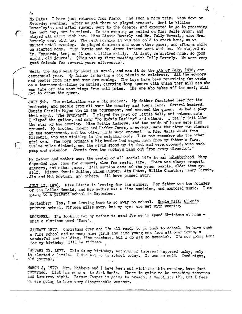 Florence McWhorter Harrington Diary - 04