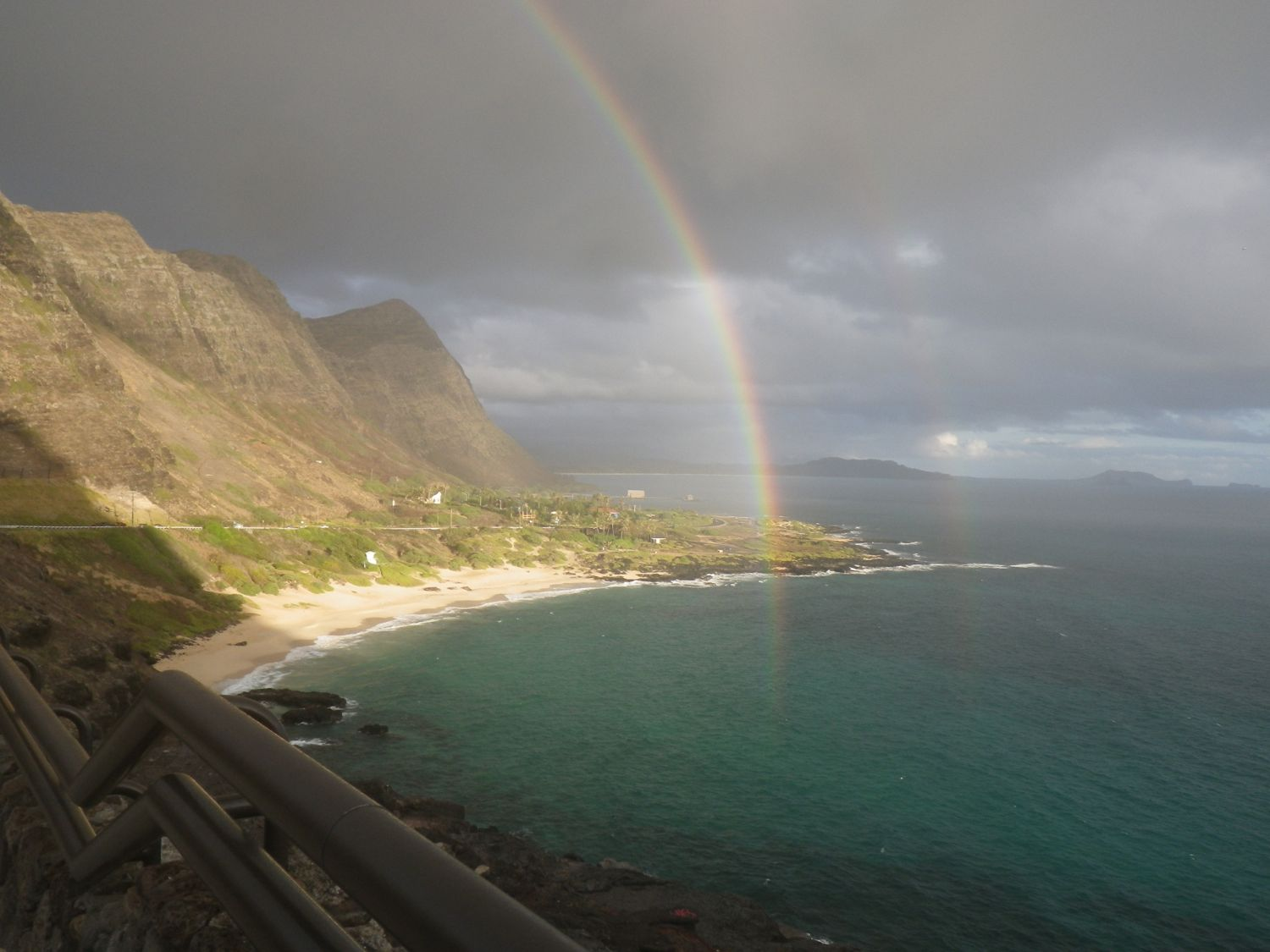 Oahu 16 : double rainbow at Makapuu