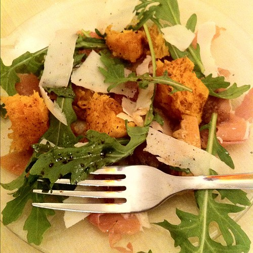From @jamieoliver warm salad of roasted squash prosciutto and pecorino