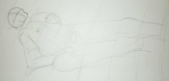Lying on Sheets (DoingThisForUniHomeWork) Tags: life nude real model artistic drawing down anatomy lying stil