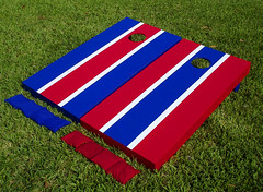 Red & Blue Alternating Stripe Cornhole Boards