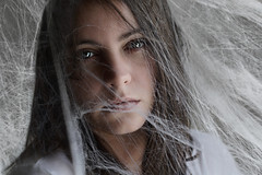Entangled (Lou Bert) Tags: portrait girl self web spiderweb cobweb dust