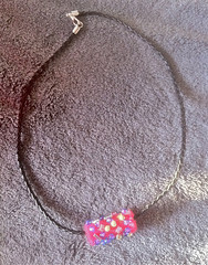 Necklace with Pink Felt Bead by randubnick