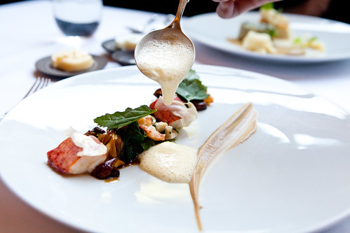 Poached lobster with Autumn Mushrooms and Spinach