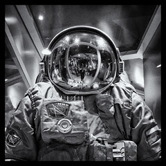 Orlan Spacesuit (Nathan Reading) Tags: portrait bw reflection stars russia space leicester astronaut suit spaceman rockets russian spacesuit cosmonaut nationalspacecentre orlan niksoftware silverefex best4gpin bestphoto4gpinoct2011 orlanspacesuit