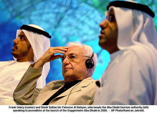 Frank Gehry (center) and Sheik Sultan bin Tahnoon Al Nahyan by artimageslibrary