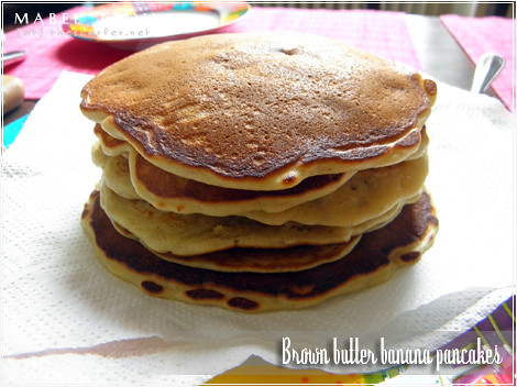 Brown butter banana pancakes