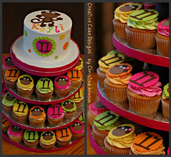Monkey Neon Tower (Christina's Dessertery) Tags: birthday pink orange tower yellow monkey neon polkadots cupcake toppers fondant buttercream gumpaste christinajohnson limegree creativecakedesigns