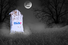 The Demise of flickr (animated) (mazzmn) Tags: bw moon mist tree halloween cemetery grave grass silhouette fog psp death scary flickr bat gravestone horror devil lichen ccc animatedgif ghoul selectivecolor demise hss