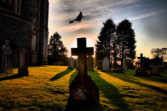 Happy Halloween (jammo_s) Tags: church grave tombstone canoneos60d jammo hdr sigma1020mm broomstick cross silhouette hickling norfolk