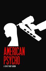 American Psycho (Caleb Kerr) Tags: halloween girl silhouette illustration cutout graphicdesign head profile murder minimalist basic adobeillustrator christianbale nailgun americanpsycho patrickbateman maryharron minimalmovieposter sfmovieposterfont