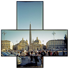 Piazza del Popolo joiner (pho-Tony) Tags: blackandwhite bw italy panorama white black rome color roma film home monochrome collage trash 35mm toy diy ic italia fuji mask widescreen wide panoramic ishootfilm plastic 101 negative thrift strip obelisk multiple kit analogue 135 cheap vivitar narrow hockney multiframe lazio charityshop developing spqr c41 hockneyesque filmisnotdead tetenal colortec ic101 vivitaric101