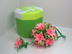 Gift box & Lily (ronatka) Tags: pink flowers green square origami lily box gift kusudama tomokofuse withbeads