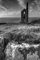 West Wheal Owles (esslingerphoto.com (back in London)) Tags: uk greatbritain england white black west building history architecture tin photography photo rocks europe mine cornwall shot britain accident country tourist architectural historic abandon single copper gb historical miners wheal stjust owles esslinger boscaswell esslingerphotocom esslingerphoto