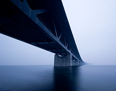 fading away (Explore frontpage) (Andreas Hagman) Tags: longexposure bridge blue sea white mist seascape cold water concrete grey dusk empty sony tripod shoreline nopeople calm explore le alpha resund uwa resundsbron ndfilter steelstructure sigma1020 explored explorefrontpage contemporaryarchitechture