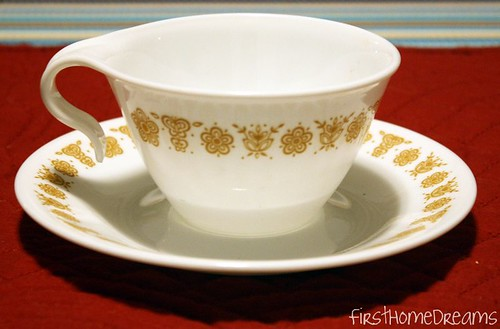 Pyrex Butterfly Gold Teacup