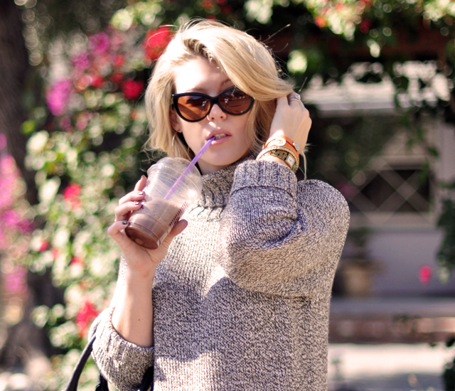 cat eye sunglasses -blonde hair-weekend style-sipping on an ice blended coffee