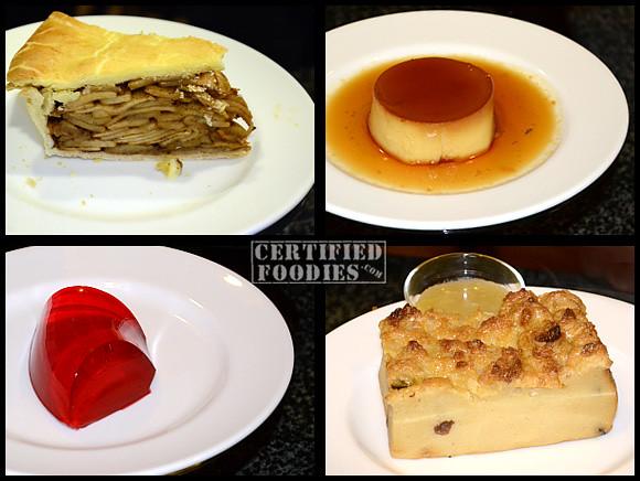 Mario's Apple Pie, Leche Flan, Sugar-free Jell-o, Canonigo