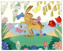 Der Osterhas legt just ein Ei (arthurvankruining) Tags: flowers bunny easter butterflies german eggs picturebook