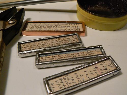 Scripture pendants almost done
