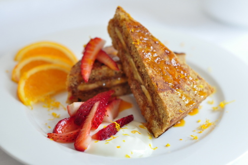 A Banana & Almond Butter Stuffed French Toast Celebration