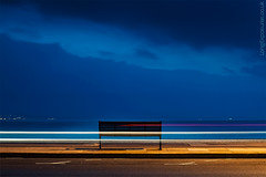 Rush Hour (AndWhyNot) Tags: light sea beach bench twilight long exposure traffic dusk trails esplanade seafront clarence southsea 6813