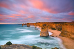 Sunset at Twelve Apostles (-yury-) Tags: ocean road sunset sea cliff nature water rock australia victoria vic twelveapostles greatocean thepowerofnow