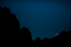 Good Night Joshua Tree (Amicus Telemarkorum) Tags: california november blue winter sunset sky moon black night rocks shadows venus joshuatree nightsky moonset 2011 jeffrueppelphotography