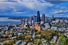 Behind the Veils of Rain (TIA International Photography) Tags: seattle washington puget sound pacific northwest elliott bay downtown skyline cbd central business district skyscraper building beacon hill interstate 5 highway freeway motorway wsdot transportation king county magnolia amazon medical center neighborhood residence city cityscape aerial columbia smith tower union square municipal wamu international first harborview hospital swedish space needle landmark waterfront harbour harbor port dock nature emerald tosin arasi tiascapes april spring springtime tia tiainternationalphotography