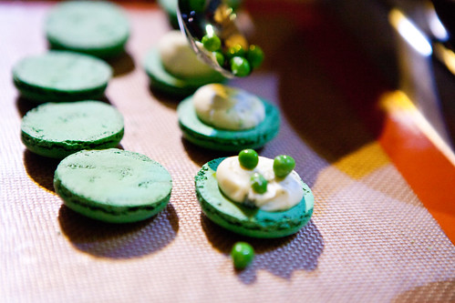 Adding a few fresh peas on top of the macaron