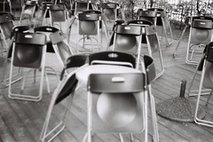 Chairs and tables (i see world in lines) Tags: white abstract black texture cafe closed chairs tables 100 ilford beirette