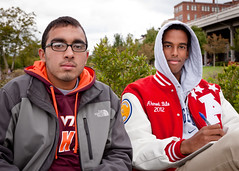 Ahmed and Paul(?) - #7 of 100 Strangers (theqspeaks) Tags: portrait black men students canon paul photo dc washington october university waterfront walk georgetown jacket worldwide photowalk athlete ethnic tamron ahmed letterman f28 anthropology 2011 scottkelby 1750mm 100strangers t1i tamronspaf1750mmf28xrdiiivcldasphericalif