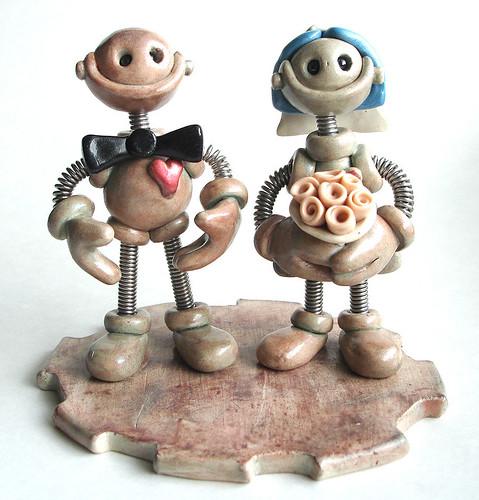 Robot Wedding Cake Topper | Stoneware Finish by HerArtSheLoves