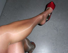 R0011797 (nylongrrl) Tags: feet stockings shiny highheels legs glossy nails upskirt heels satin stiletto ph ankle pantyhose dangle nylon nylons collant