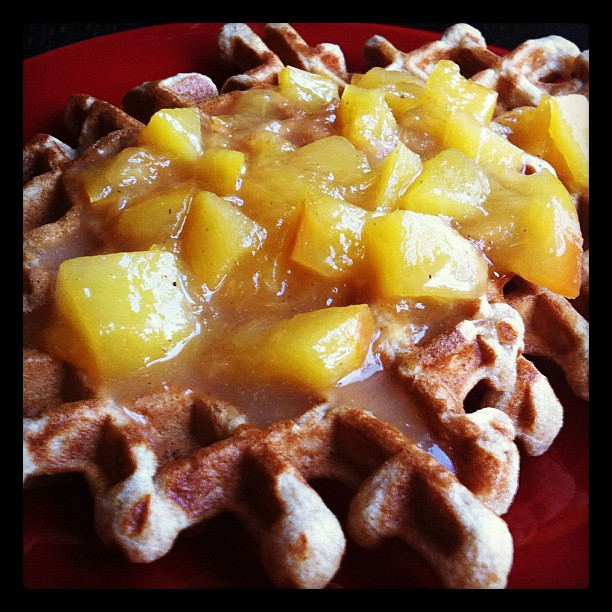 Lemon waffles with icewine-nectarine sauce