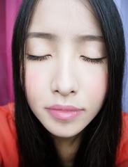 Calm.... (XIAOHI) Tags: pink portrait woman white selfportrait cute girl beautiful smile face fashion lady hair asian fun model eyes colorful pretty chinese xiao  xiaohei beautyshoots
