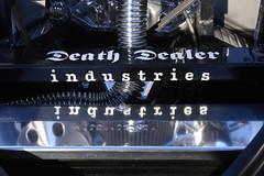 Death Dealer Reflections (cobalt123) Tags: arizona black reflection phoenix car logo tubes engine chrome motor lettering deathdealer cruiseoncentral carcruise deathdealerindustries