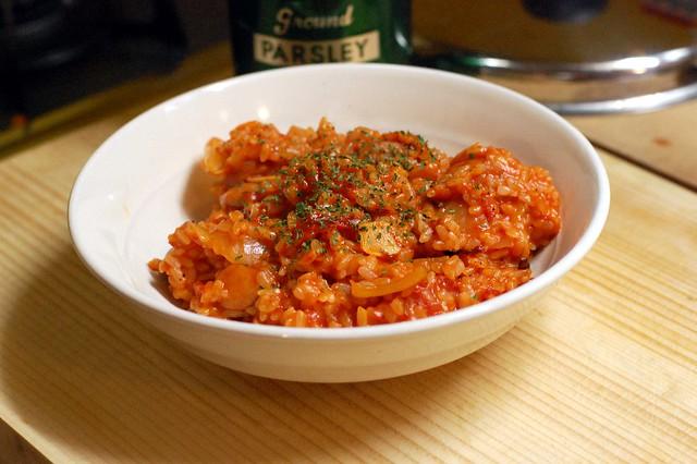 トマトペペロンチーノご飯。