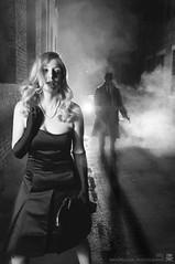 Film Noir - Picture 3 of 5 (mandragor.de) Tags: street light shadow blackandwhite bw woman film girl car silhouette fog night hair movie noir fear crime purse blonde handbag 40s filmnoir offenbach mandragor