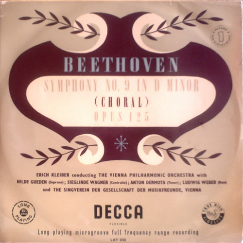 UK DECCA LXT-2796 ERICH KLEIBER, THE VIENNA PHILHARMONIC ORCHESTRA, GUEDEN, WAGNER, DERMOTA, WEBER BEETHOVEN: SYMPHONY No.9 CHORAL
