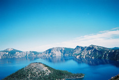 Crater Lake, OR (jasperbel) Tags: road park trip travel blue usa mountain lake holiday snow nature water beautiful rain oregon america wow landscape volcano photo pretty natural or hill deep adventure clear southern national photograph crater caldera traveling cascade klamath